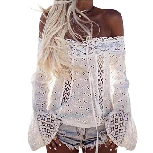 women blouse topunder off shoulder long sleeve lace loose to