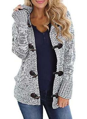 women button up cardigan knit hooded cable