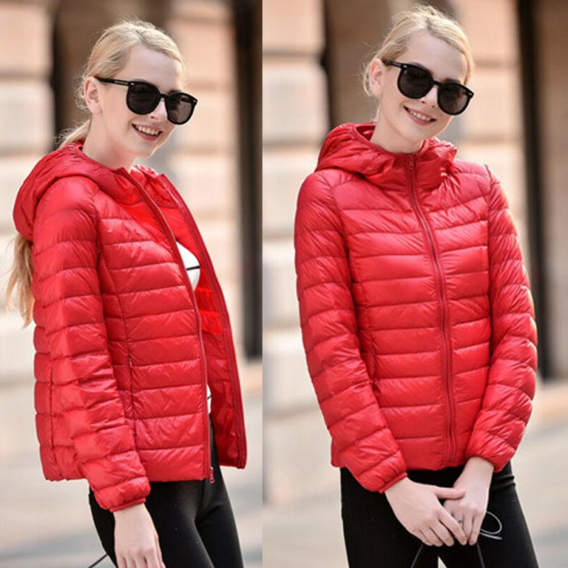 Women Hooded Packable Down Parka Jacket Coat Winter OB
