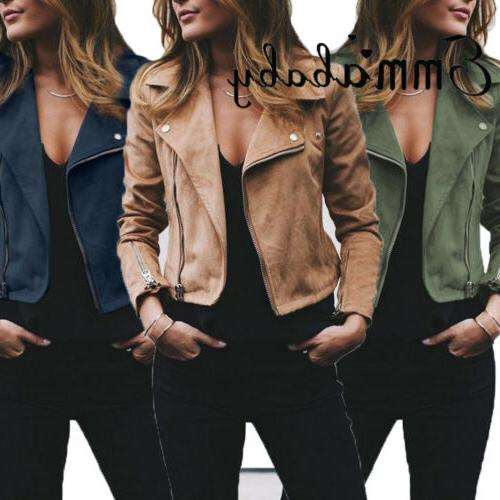 Women Coats Up Biker Casual Top Outwear US