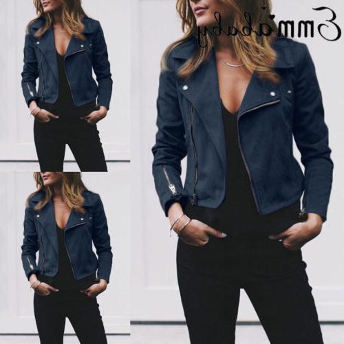 Women Leather Coats Zip Up Outwear