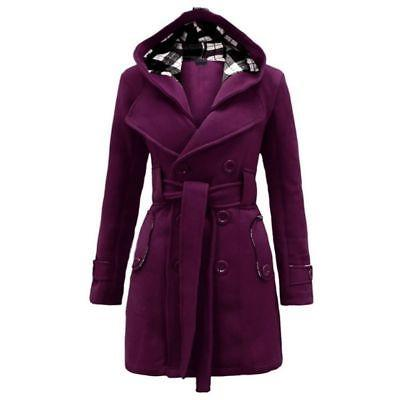 Women Ladies Hooded Trench Long Trench Dress