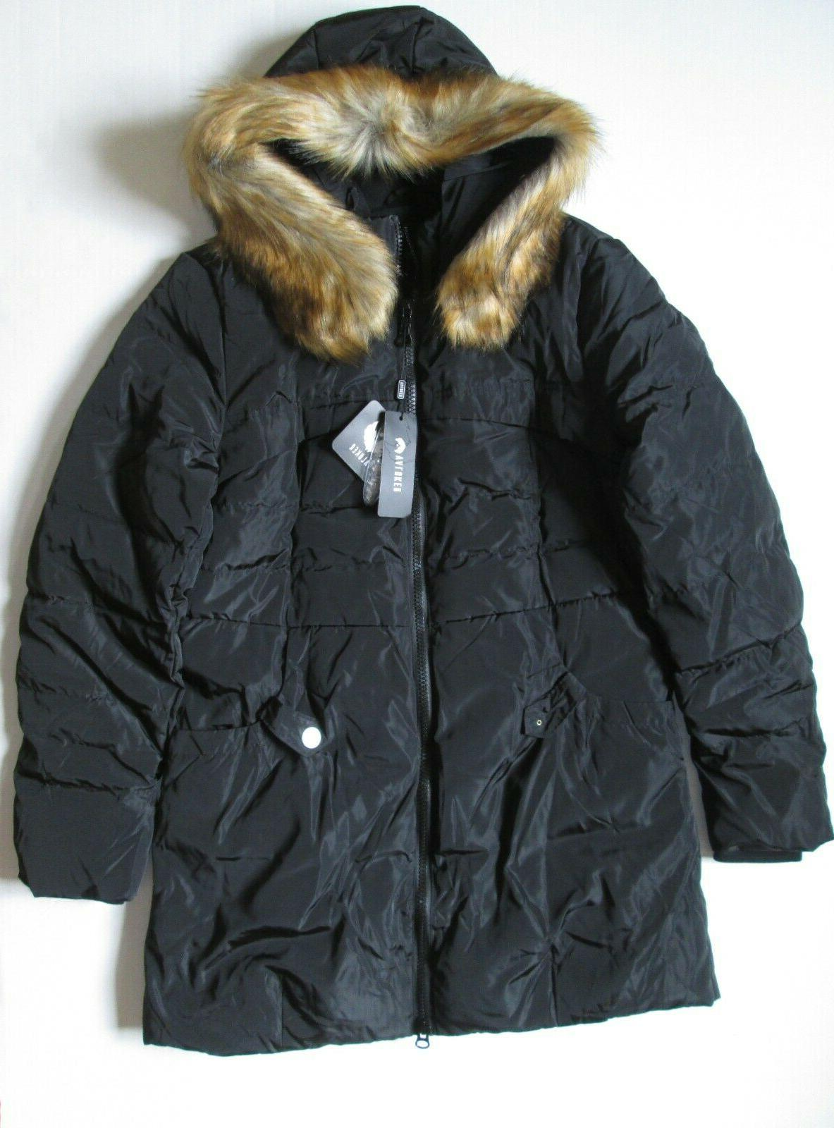 Valuker Coat with Faux Fur Hood Puffer Jacket L NWT