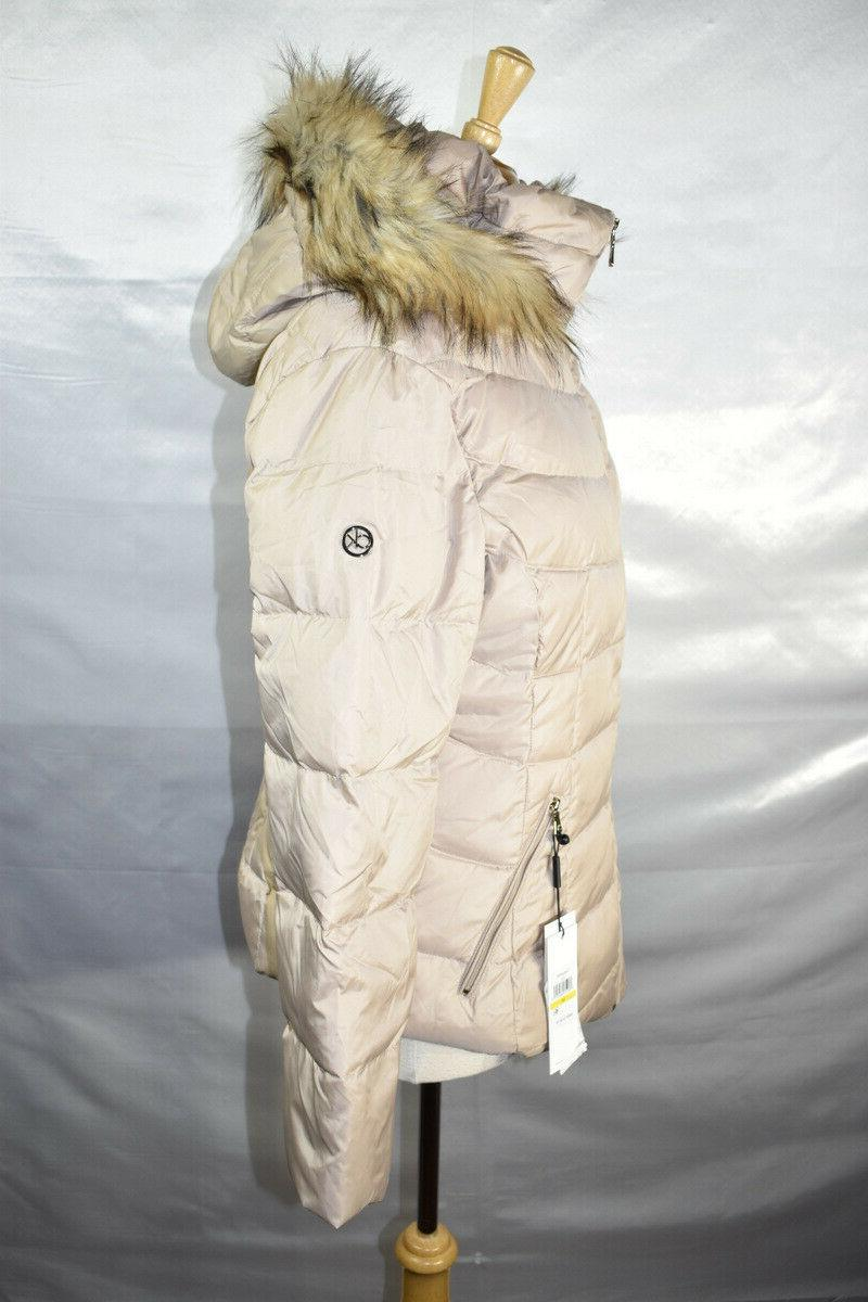 Calvin Klein Puffer Coat, Faux Fur Hooded, Beige, Size M, $180, NwT