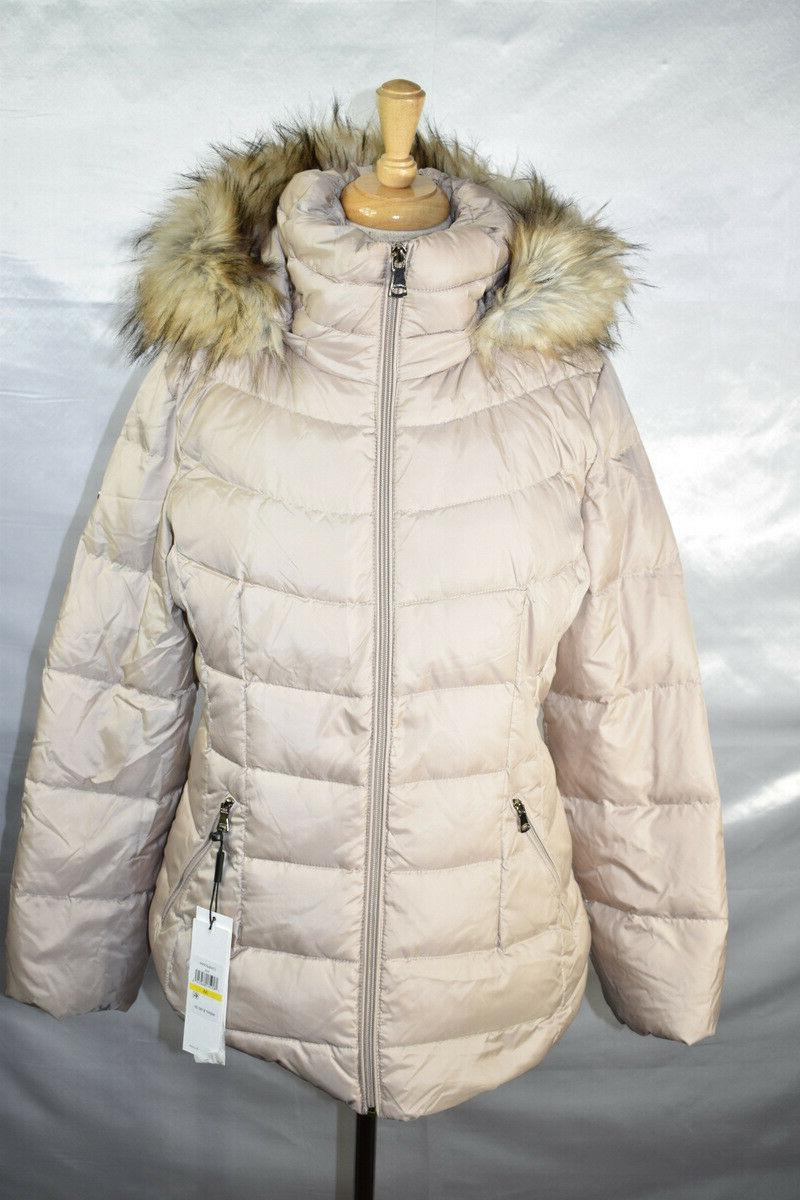 Calvin Puffer Coat, Faux Hooded, Size M, $180,