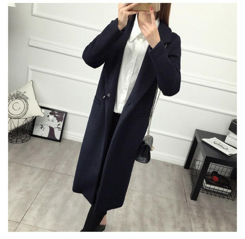 Women's Elegant Lapel Blend Coat Trench Parka Jacket Long Outwear