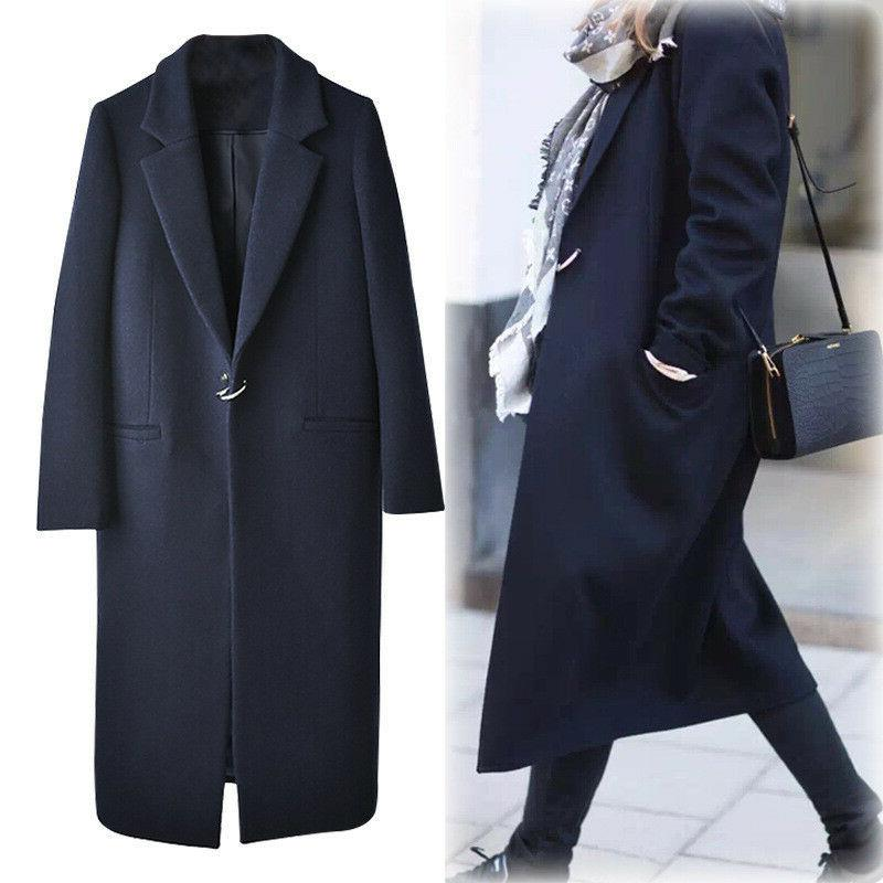 women s elegant lapel wool blend coat