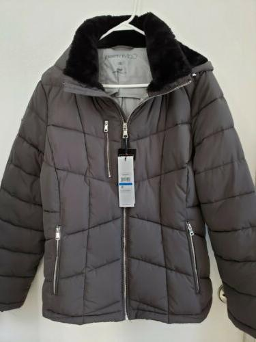 women s faux fur lined hooded puffer