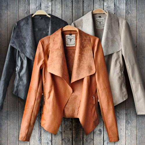 women s ladies leather jacket coats zip