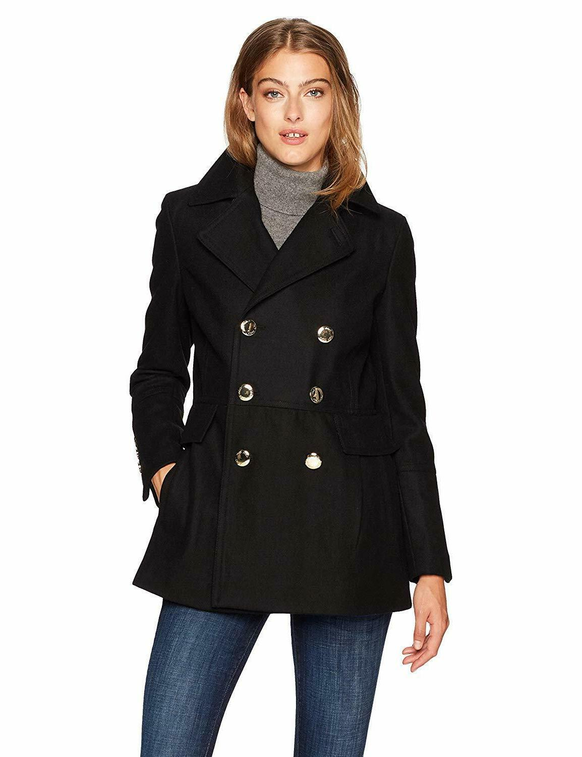 women s polished wool coat with button
