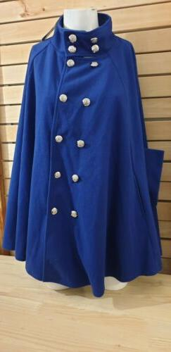 Allegra K Women's Poncho Coats And Jacket Button Royal Blue