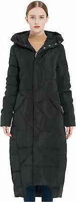 Orolay Women's Puffer Down Coat Winter Maxi Jacket with, Bla