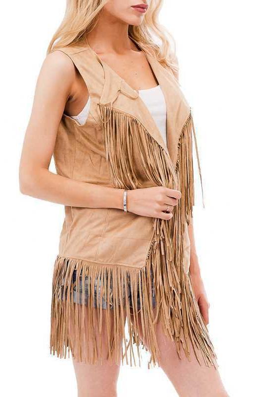 Women's Hippie Faux Suede Fringed Cardigan Coat