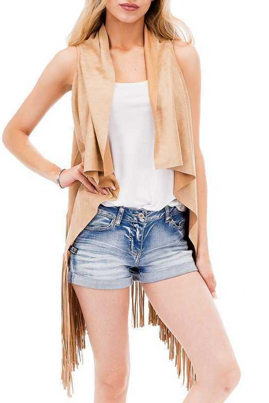 Women's Spring Suede Fringed Cardigan Coat