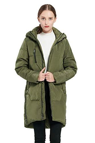 89764b13af2f Orolay Women s Thickened Down Jacket Hooded Coat ArmyGreen. Down Jacket  ArmyGreen