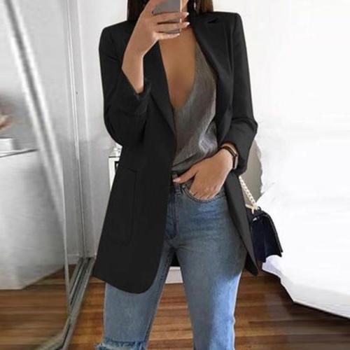 Women Slim Casual Blazer Jacket Top Sleeve Career Long Coat
