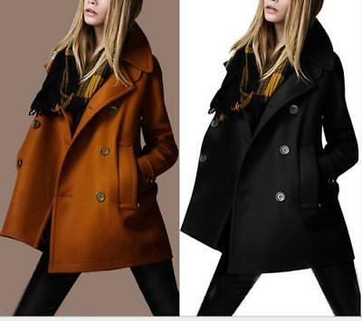 HOT  Women Wool Blend Pea Coat Slim Lapel Outwear Hip Length