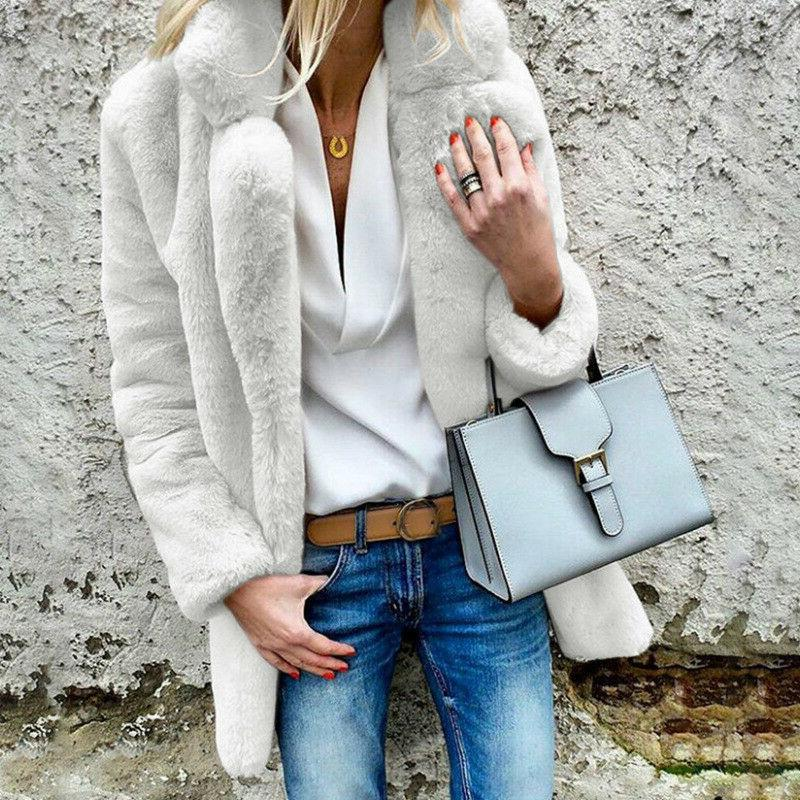 Women Fluffy Fur Jacket Casual Cardigans Outerwear