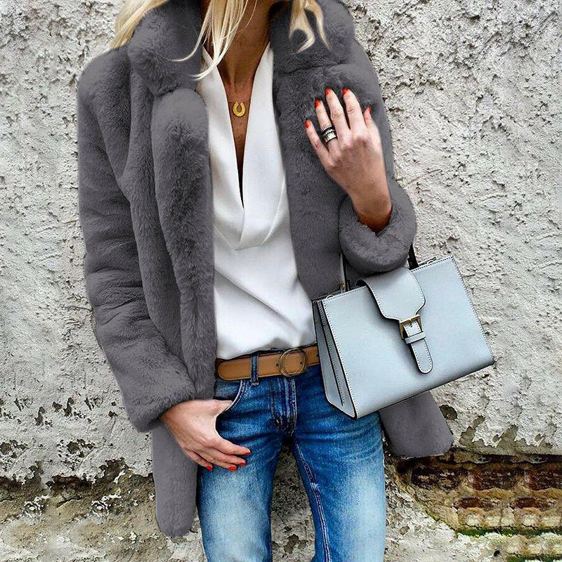 Women Fluffy Coat Fleece Jacket Outerwear