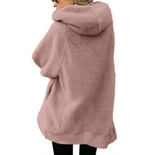 Women Winter Fuzzy Coat Fleece Outerwear