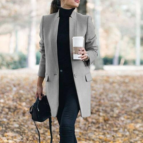 Women Winter Trench Coats Blazer Wool Long Jackets Outwear Collar