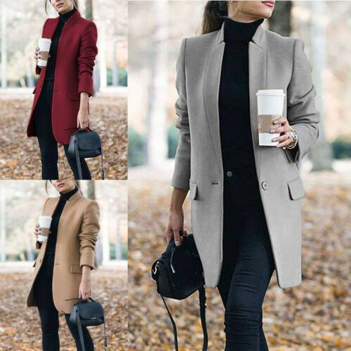 Women Winter Coats Blazer Wool Long Jackets Outwear Parka Overcoat