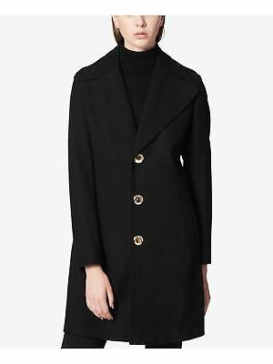 womens black buttoned peacoat formal coat size