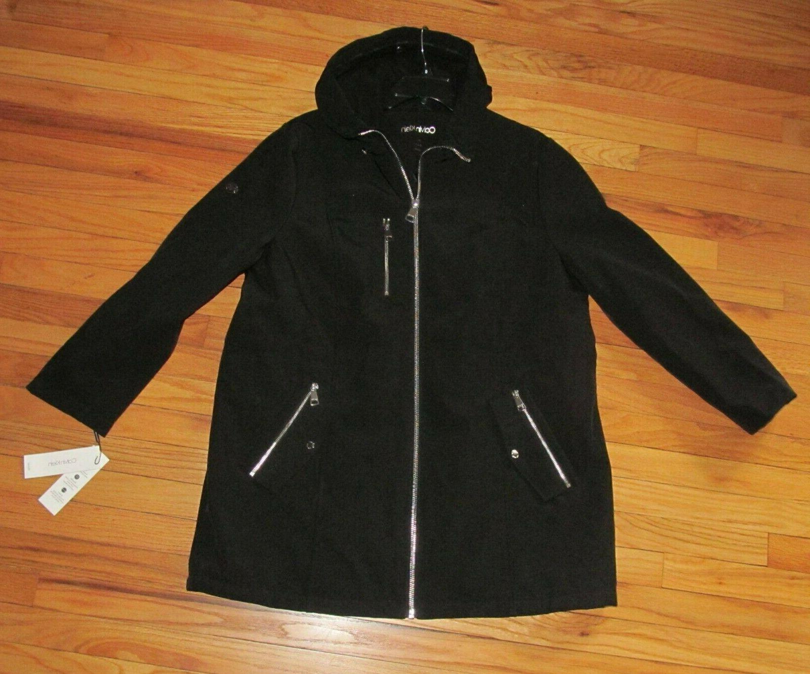 womens black trench coat detachable hood 2x