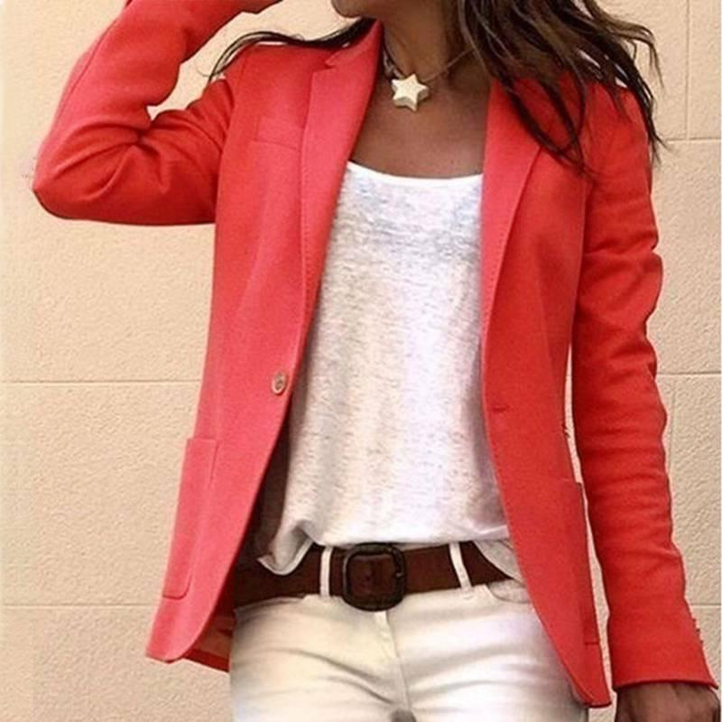Womens Candy Sleeve Casual Slim Jacket Blazer Formal Coats