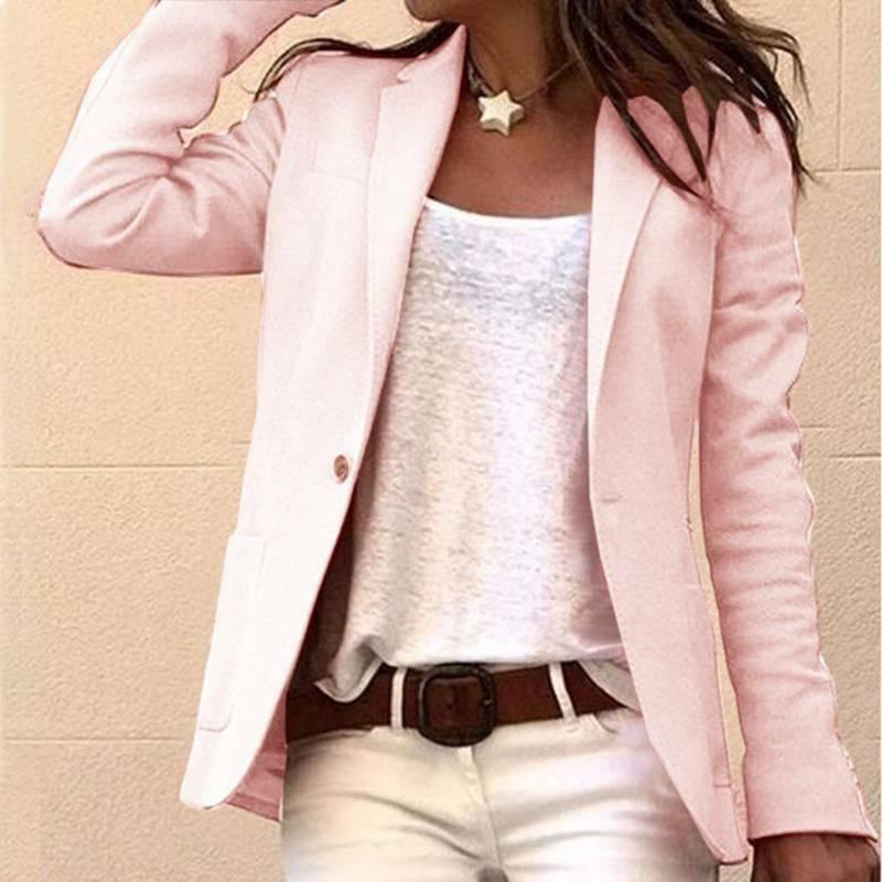 Womens Candy Color Sleeve Slim Suit Jacket Top Coats