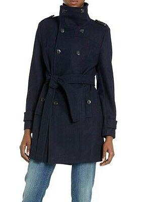 womens coat blue size small s belted