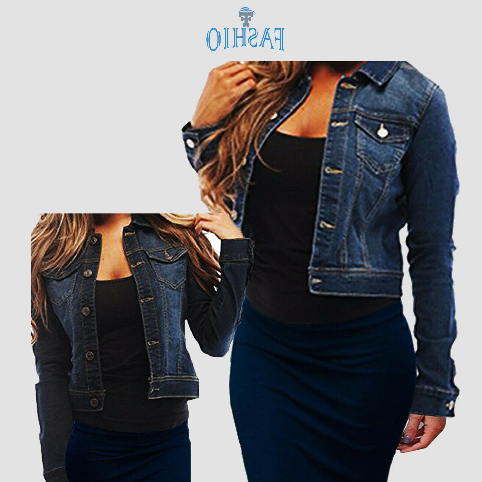 women s full long sleeve denim jacket
