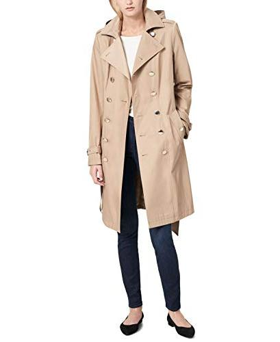 womens petite double breasted trench coat khaki