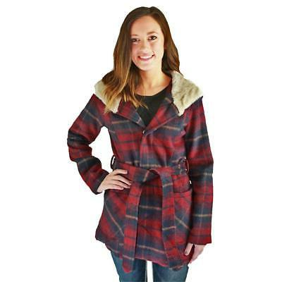 womens red shawl collar wrap coat outerwear