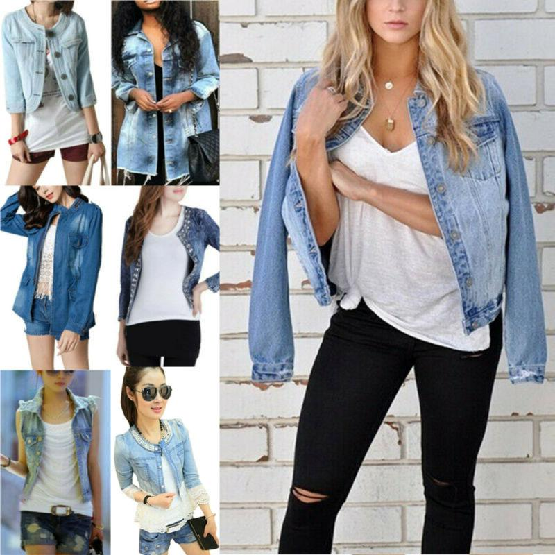 Womens Frayed Sleeve Denim Jeans Cropped