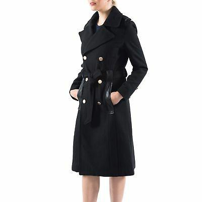 womens wool blend double breasted belted trench