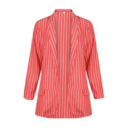 Lady Open Front Red Women's Suit Blazer Tops Spring Jackets