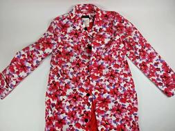 Lands End Womens Large 14- 16 Pink Floral Trench Coat Rain C