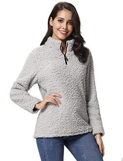 Abollria Womens Long Sleeve Zip Sweatshirt Fleece Sherpa Pul
