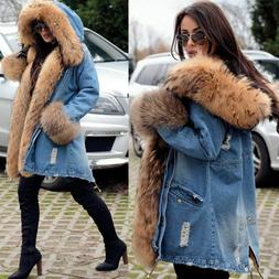 Roiii Luxury Women Denim Jacket Long Faux Fur Jean Coat Hood