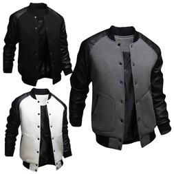 Men Baseball Varsity Letterman Outwear Jacket PU Leather Bom