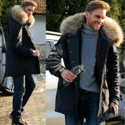 Roiii Men Casual Faux Fur Hood Thick Winter Trench Coat Snow