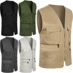 Men Pocket Travel Fishing Photograph Waistcoat Safari Cargo