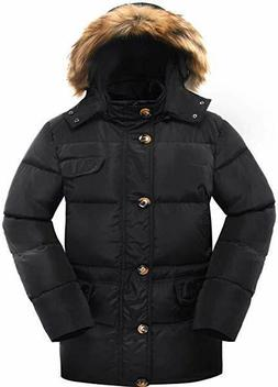 Valuker Men's Down Coat With Fur Hood With 90% Down Parka Pu