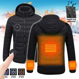 New Mens Electric Battery Heated Hoodie Jacket Coats Winter