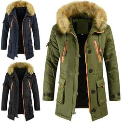 Men's Faux Fur Long Parka Coat Hoodie Zipper Winter Jackets