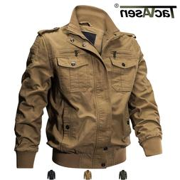 TACVASEN Men's Military Cargo Jacket Cotton Coats MA-1 Airbo