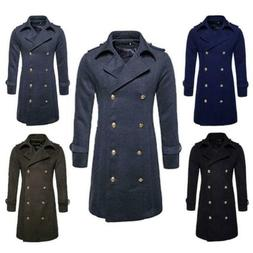 Men's Military Wool Blend Winter Jackets Double Breasted Lon