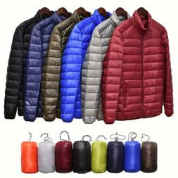 Men's Packable Duck Down Jacket Stand Collar Ultralight Oute