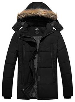 Wantdo Men's Puffer Jacket Warm Heavyweight Quilted Hooded O